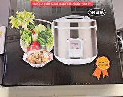 10 Cup Stainless Steel Inner Pot Rice Cooker SILVER COLOR