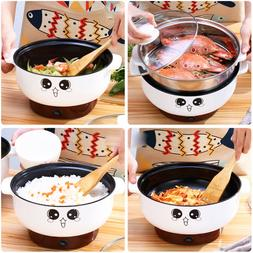 Student Stainless Steel Electric Cooker w/Steamer Hot Pot Ri