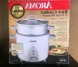 Aroma 14 Cup Rice Cooker & Food Steamer White / One Touch NI