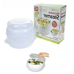 2 Tier Microwave Cooker Steamer Vegetables Rice Pasta Health