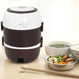 3-Layer Electric Lunch Box Steamer Pot Rice Cooker 2L Stainl