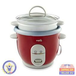 6-Cup Rice Cooker with Steamer, Red