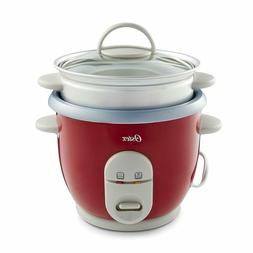 Oster 6-Cup Rice Cooker with Steamer, Red/Black