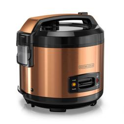 BLACK+DECKER 14-Cup Rice Cooker with Locking Lid, Copper, RC