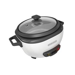 BLACK+DECKER 6-Cup Rice Cooker with Steaming Basket, White,