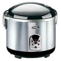 Digital Rice Cooker 20 Cup Kitchen Electric Cooking Black St