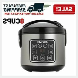 Digital Rice Cooker Slow Food Steamer Stainless Steel 8 Cup