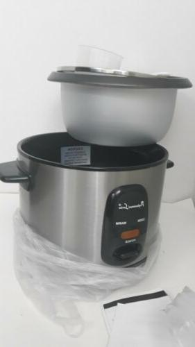 Continental Electric Professional 12-Cup Rice Cooker Silver PS75068 New.