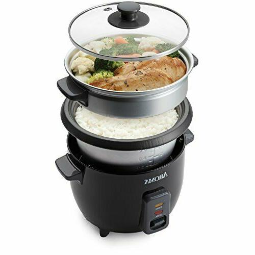 Aroma 3 Cups Uncooked/6 Cups Cooked Rice Steamer, Silver ARC-363-1NGB