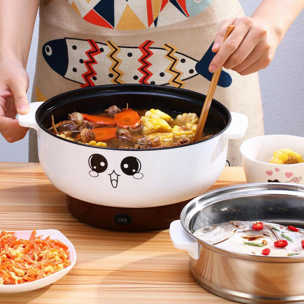 2.3L Electric Skillet Pot Rice Soup Porridge Cook+Steamer