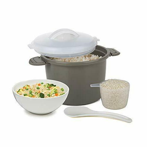 Microwave Cooker Steamer Lid Pampered Bowl Kitchen Piece Gray