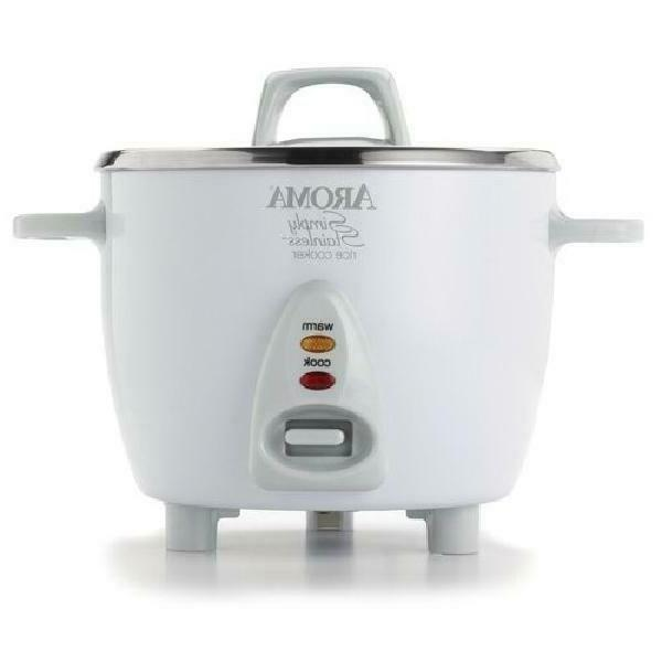 Rice Cooker Kitchen Dining Cooking Aroma 6 Cup White Simply