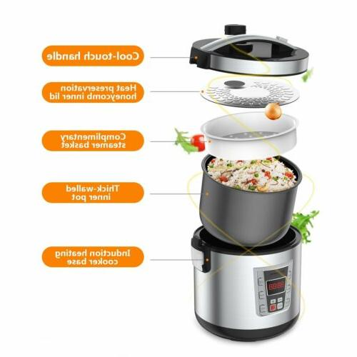 12-Cup Digital Rice Cooker Food Steamer Stainless Steel Multi-Cooker