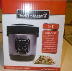 Magic Chef MCSRC03ST 3 Cup Mini Stainless Steel Rice Cooker