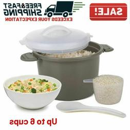 Microwave Rice Cooker Set Nonstick 6 Cup Cooked Dishwasher S