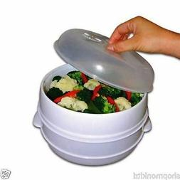 New 2 Tier Microwave Vegetable Steamer Cooker Healthy Pasta