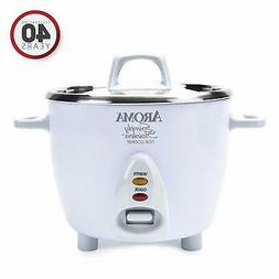 Aroma Simply Stainless Rice Cooker, White, 6-Cup Cooked, FRE