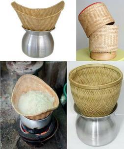Thai Lao Sticky Rice Cooker Steamer BamBoo Basket Pot Kitche