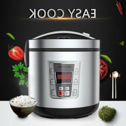 12-Cup Uncooked Digital Rice Cooker Food Steamer Stainless S